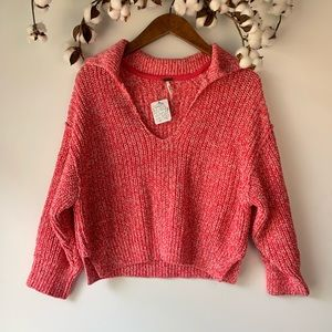 Free People Pink Cropped Oversized Sweater XS